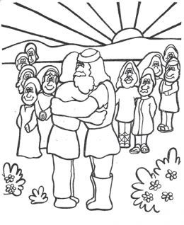 Learn Bible Stories With Jacob Esau Meet Again Coloring Page