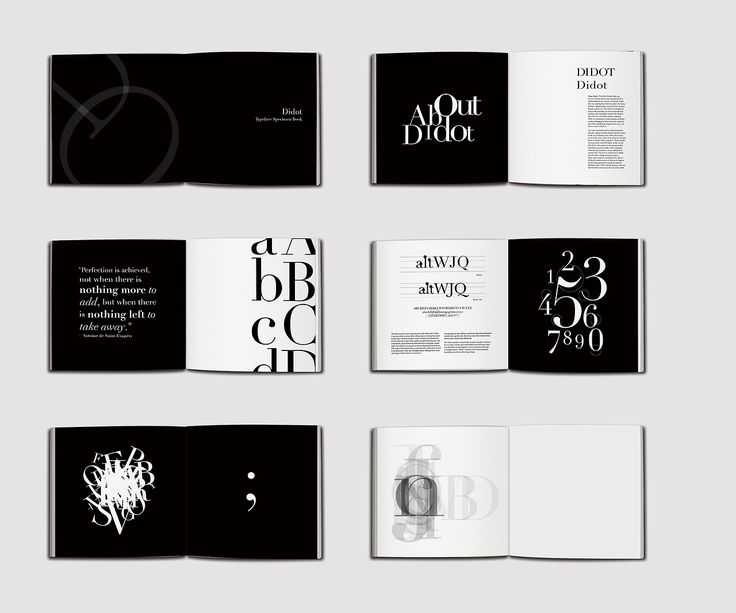 Didot Type Specimen Book Didot is an elegant and modern typeface. The design concept is to create an elegant atmosphere by using the black a...