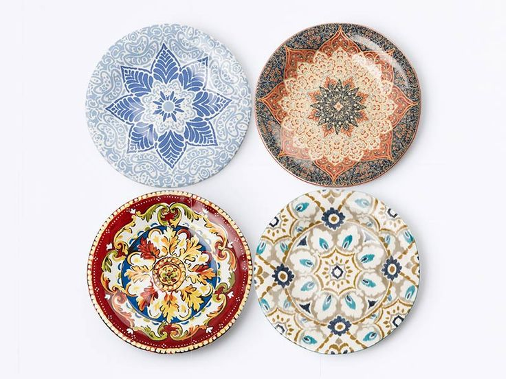 Large Patterned Plates by Dama. Set of big plate consists with different pattern on its. Chinaware for kitchen features red, blue and brown color. Each of plate has diameter 27.5cm.  http://www.zocko.com/z/JJyl6