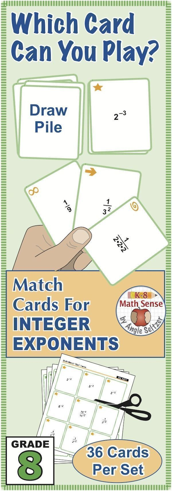 This FREE Grade 8 set of printable Multi-Match game cards helps students simplify expressions with negative integer exponents. Just print on five sheets of paper and have students cut the cards. Choose from four fun, familiar games for 1-4 players. ~by An