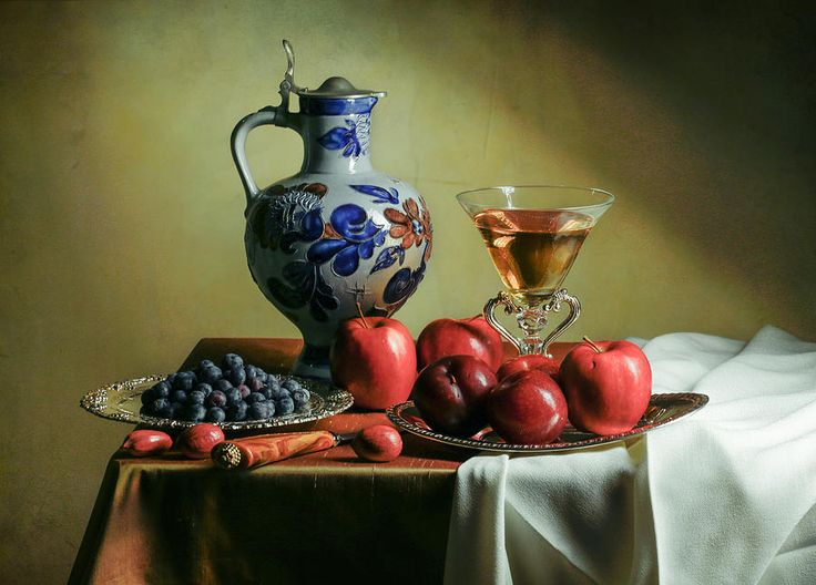 Ontbijtje With Blue Tankard-red Apples And Venetian Glass by Levin Rodriguez