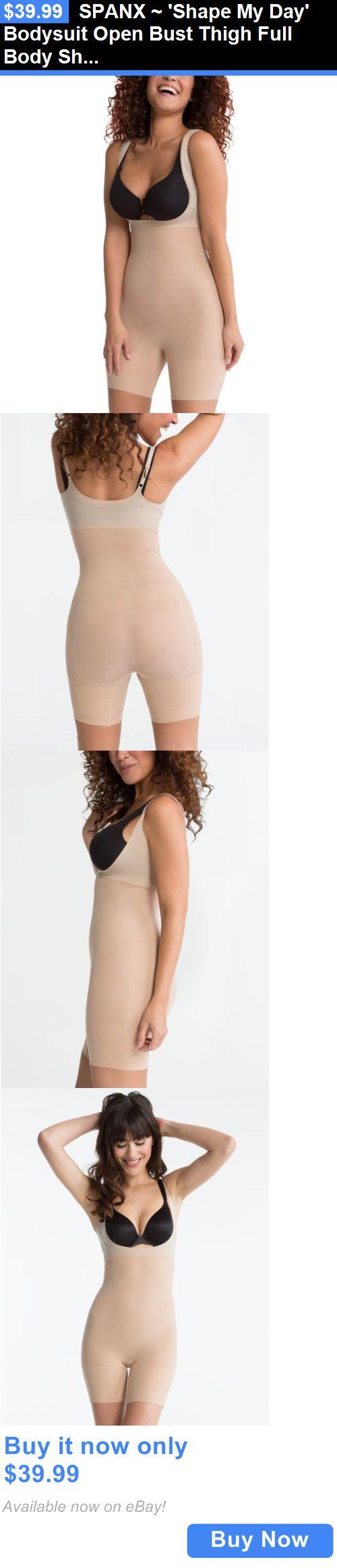 Women Shapewear: Spanx ~ Shape My Day Bodysuit Open Bust Thigh Full Body Shaper ~ Nude S Small BUY IT NOW ONLY: $39.99