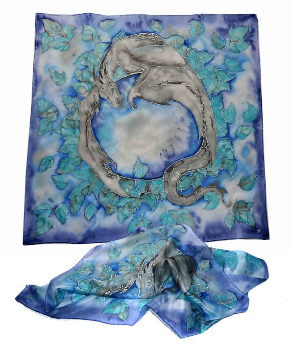 Hand-painted silk scarf  Silver Dragon square by JankaLart on Etsy