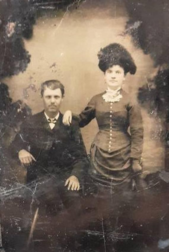 Tintype fashion couple large hat stormy background vintage photo
