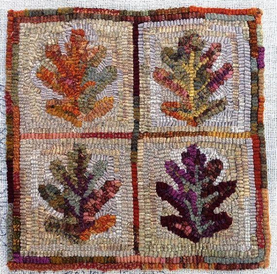 Rug Hooking Pattern Oak Leaves 12 X J983 Diy Primitive Design Still More Out There Pinterest