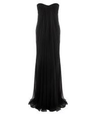 Alexander Mcqueen Black Silk Chiffon Bustier Dress in Black