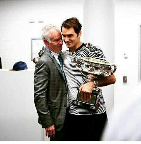 Roger Federer and John McEnroe  AO 2017