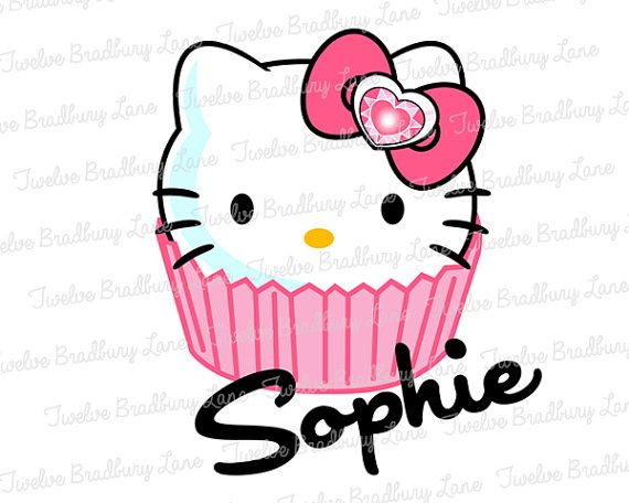 Hello Kitty Printable Iron On Transfer Cupcake Birthday digital download Personalized Hello Kitty Birthday Party Matching shirt  outfit diy