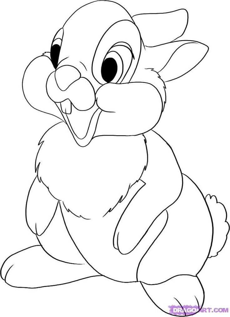 Line Drawing Disney : How to draw thumper from bambi step girl scout ideas