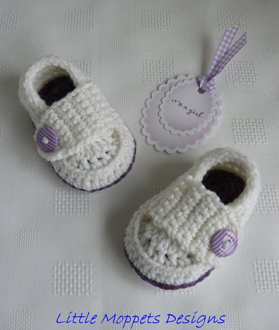 Baby Girl Loafers  Crochet Baby Shoes  by LittleMoppetsDesigns