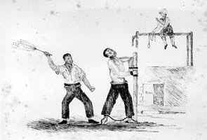 convict being flogged in Van Diemen's Land (AOT, PH30/1/2720B)