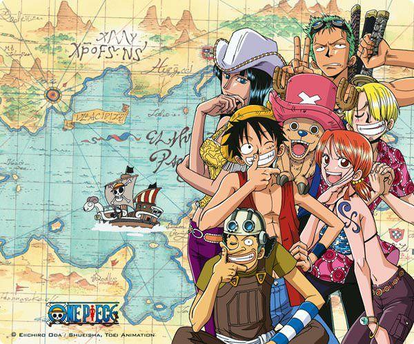 Tapis de souris One Piece équipage de Luffy sur carte - 6,99 € - #Logostore