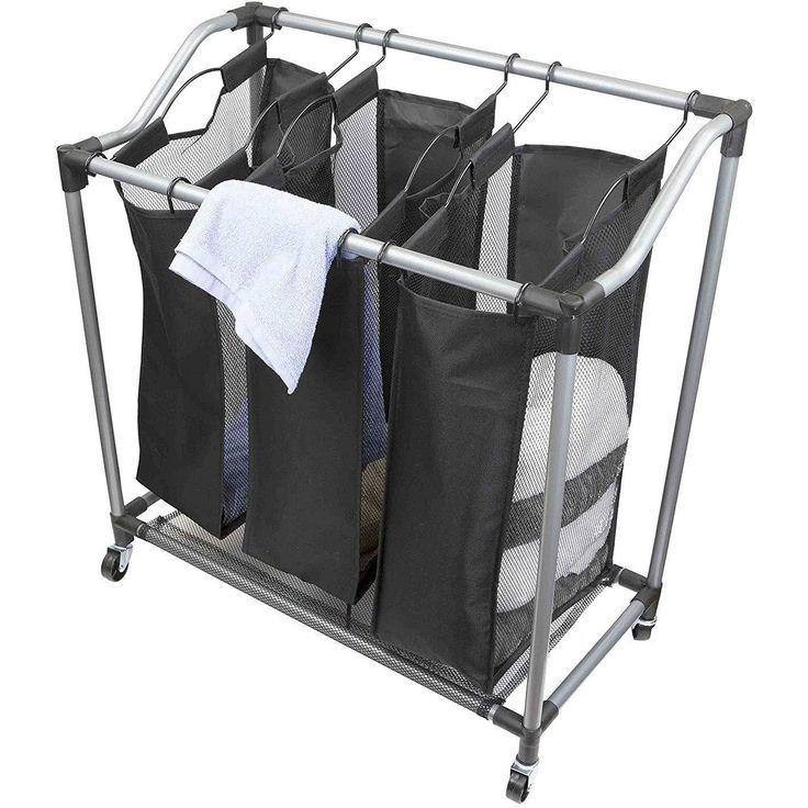 Heavy Duty Triple Laundry Hamper Sorter With Wheels Black Laundry Hamper Laundry Sorter Laundry Room Storage