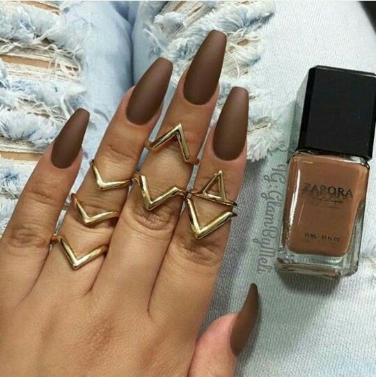 ( Matte Brown ) Nail Designs #coffinshaped......the nail polish looks like my foundation