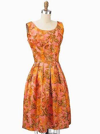 1960s Floral Silk Metallic Gold Brocade Party Dress