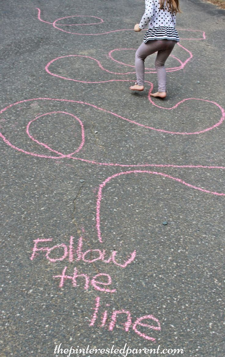 Use masking tape Sidewalk Chalk Games & Activities for kids. Fun outdoor play spring, summer and fall