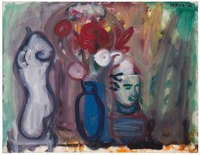 Flowers in a Blue Vase b y Robert De Niro, Sr., Oil on canvas, 28 x 36 inches, 1966