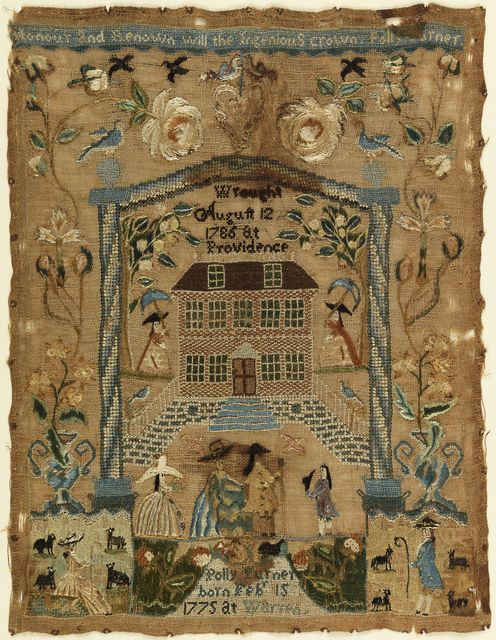 Sampler, 1786. Medium: silk, linen, metal-wrapped silk, hair, metal strips Technique: embroidered using cross, tent stem, satin, and rococo (queen) stitches on plain weave.
