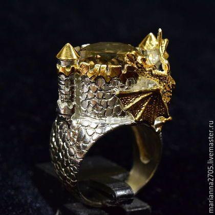 """Кольца ручной работы. Ярмарка Мастеров - ручная работа. Купить """"В гости к дракону"""" кольцо в стиле ФЕНТЕЗИ с раухтопазом и драконом. Handmade."""