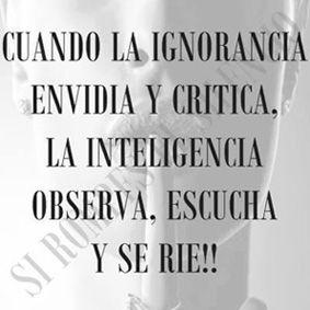 ...  Cuando la ignorancia envidia y critica. La inteligencia observa, escucha y se rie!!.
