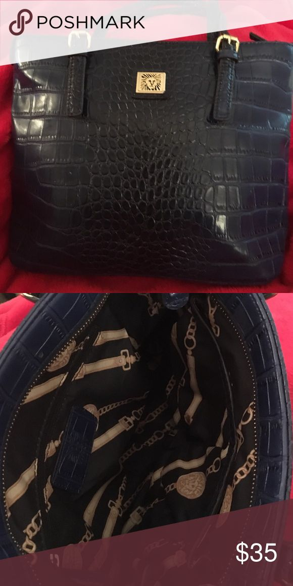 Anne Klein navy shoulder bag - fantastic condition Navy bag with gorgeous decorative interior. Gently used and in excellent condition. Faux snake print. Anne Klein Bags Mini Bags