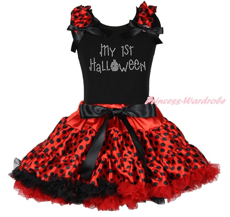 >> Click to Buy << My 1ST Halloween Black Top Shirt Red Black Dot Skirt Girls Cloth Outfit Set 1-8Y MAPSA0849 #Affiliate