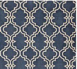 Scroll Tile Rug, Indigo Blue