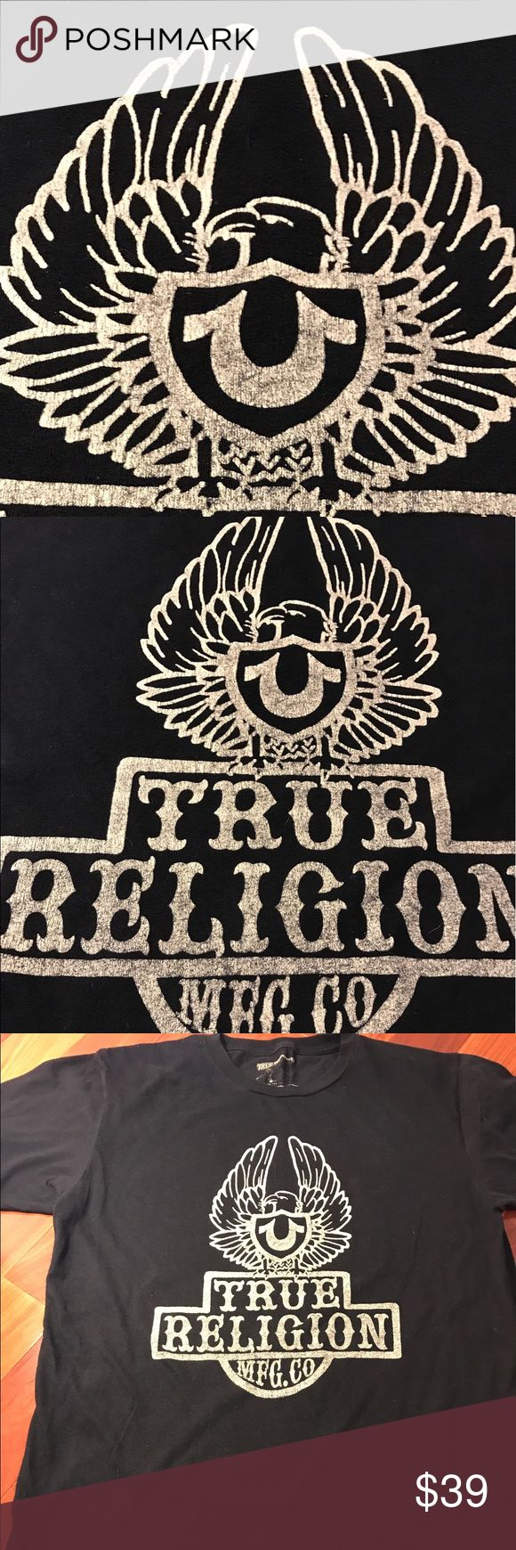 True Religion T Shirt Cool True Religion T Shirt with Bicker winged True design on the chest. As you can see I accidentally burned off the label with the iron on the neck. True Religion Shirts Tees - Short Sleeve