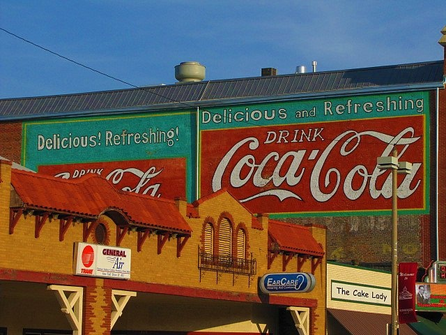 McPherson, Kansas, dowtown, Coca-Cola mural in the side of the historic Opera House