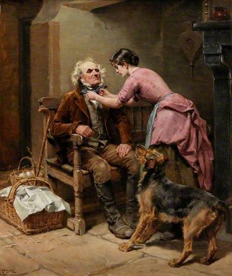 Market Morning, 1888 by Ralph Hedley (British 1848-1913).....a consciencious daughter making sure her father (reluctantly) looks his best for market day.....