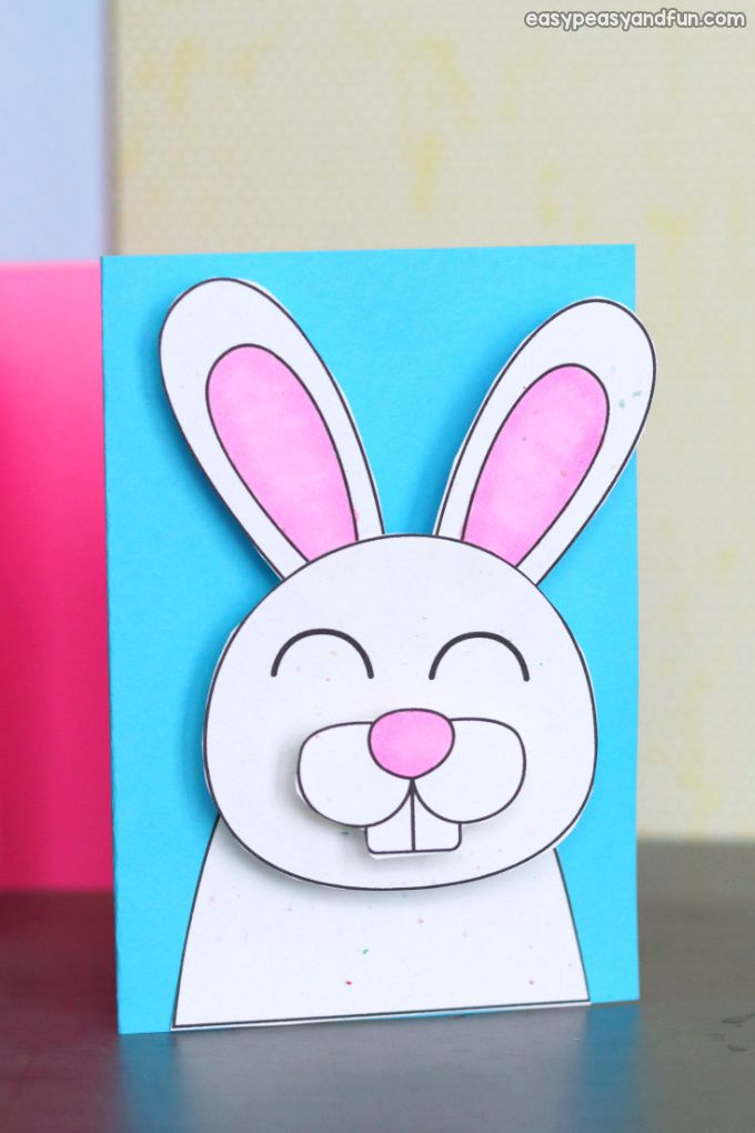 Easter Bunny Card Bunny Crafts Mothers Day Card Template Egg Card