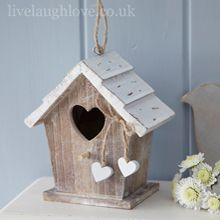 Woodland Birdhouse with Hanging Hearts