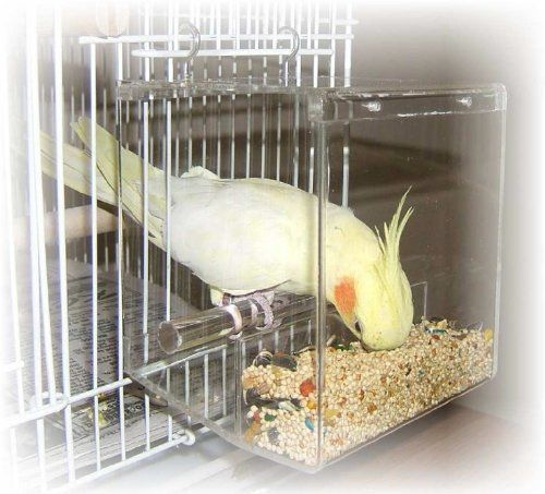 Details About Acrylic Tidy Seed Bird Cage Bars Feeder Box