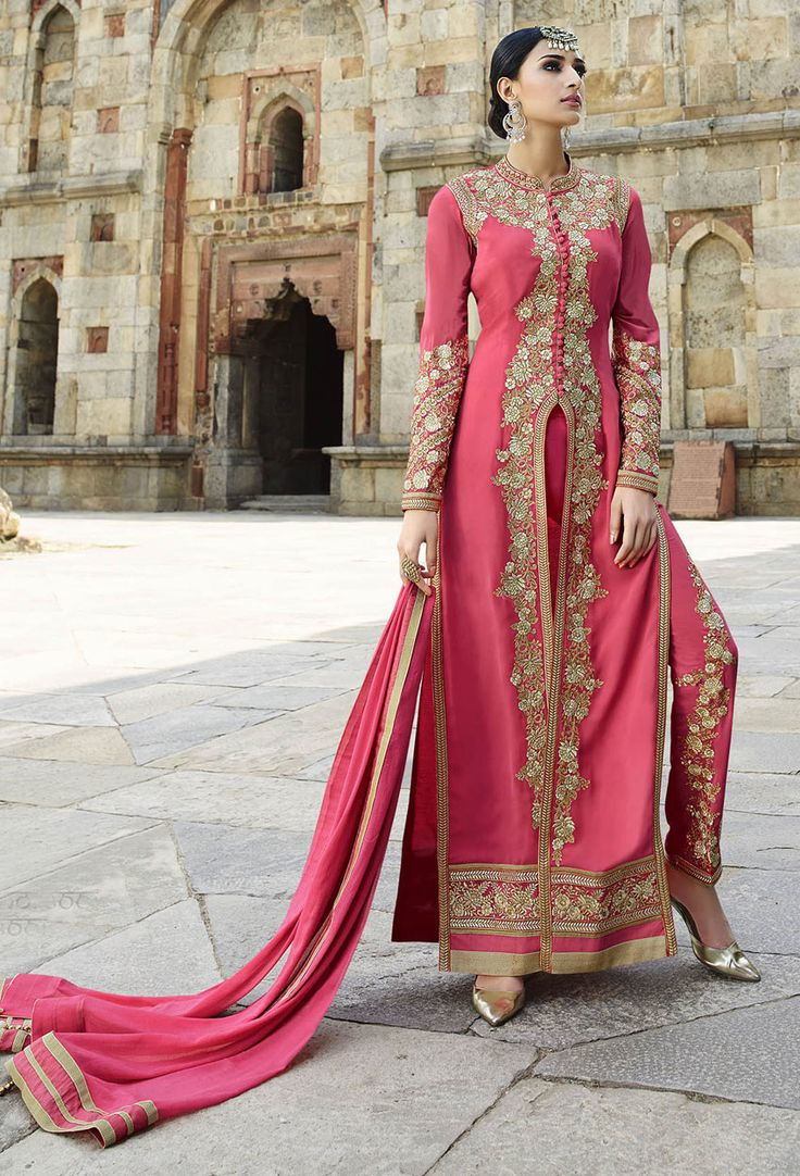 Semi Stitched Pink Achkan Style Salwar Kameez #partywear #salwarsuits #designer #anarkali #achkanstyle #abaya #bollywood #ceremonial #georgette #net #officewear #salwarkameez #suit #suitsonline #traditional #straightcut #fullsleeve #contemporary #womenwear #womenclothing #nikvik #usa #designer #australia #canada #malaysia #UAE #freeshipping.Sign up and get USD100 worth vouchers.price-US$113.65