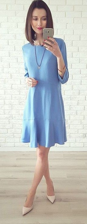 Little Flounce Blue Dressn Nude Pointy Heels   DaisyLine