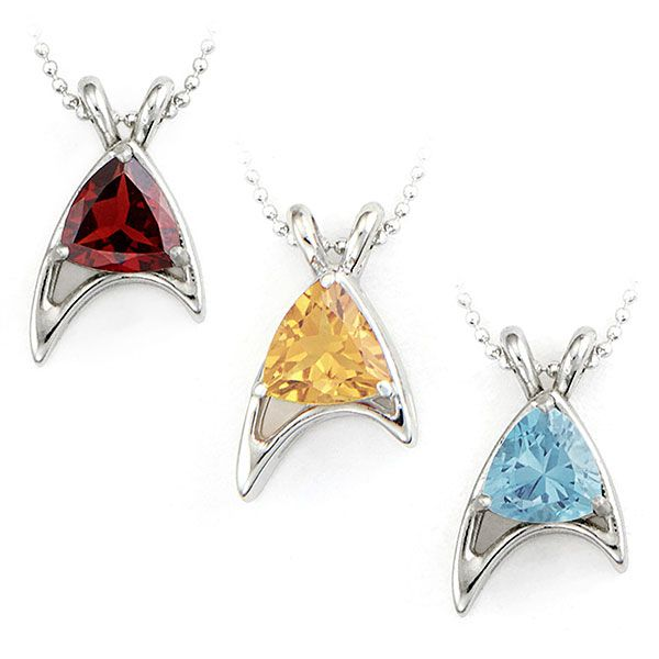 In honor of Star Trek's 50th anniversary, RockLove created these Star Trek Sterling Starfleet Trillion Necklaces in Division Colors.