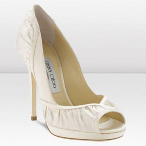Jimmy Choo Gloss 120mm Ivory Silk Satin Peep Toe Pumps