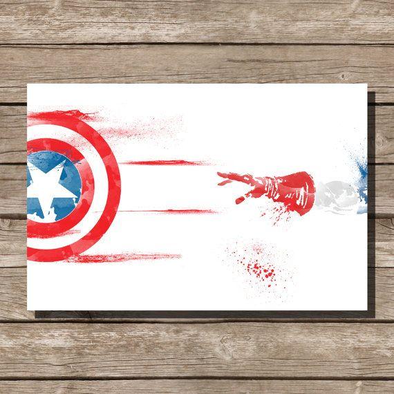 movie poster art print Captain America comic book by ThunderDoam, $15.00