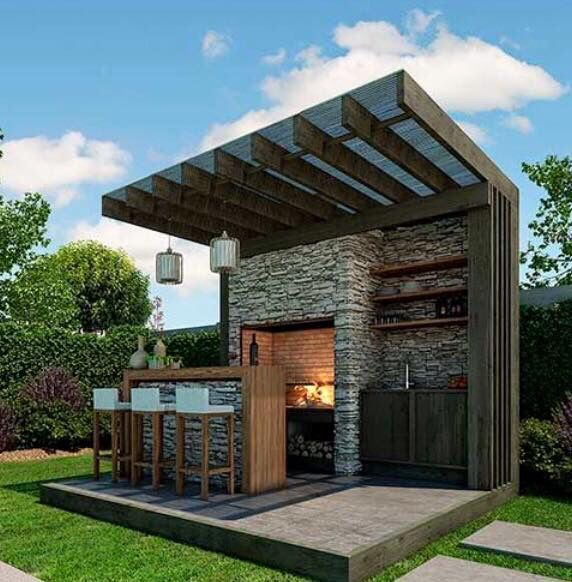 Simple, small stand alone activity area. like the blend of wood and stone, strong lines on the roof. Don't like this particular stone though.