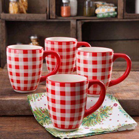 The Pioneer Woman 26 oz Jumbo Mug, Set of 4 (Charming Check)