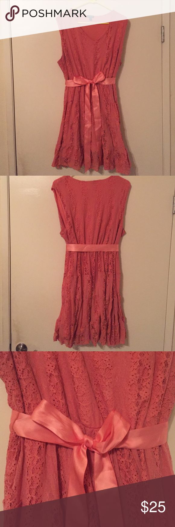 Coral Lace Dress Fully lined coral lace dress with ribbon belt Dresses