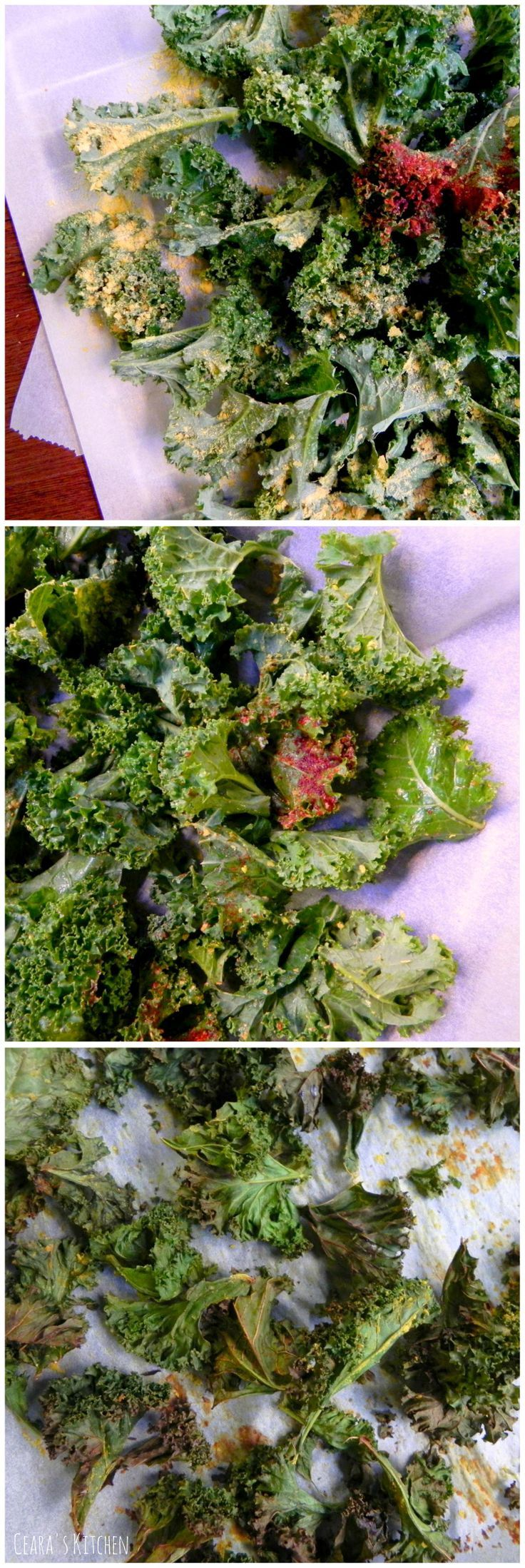 These CHEESY Oil Free Kale Chips are the best. They are cheesy, salty, savory and make the perfect #HEALTHY #VEGAN + #GLUTENFREE - Ceara's Kitchen