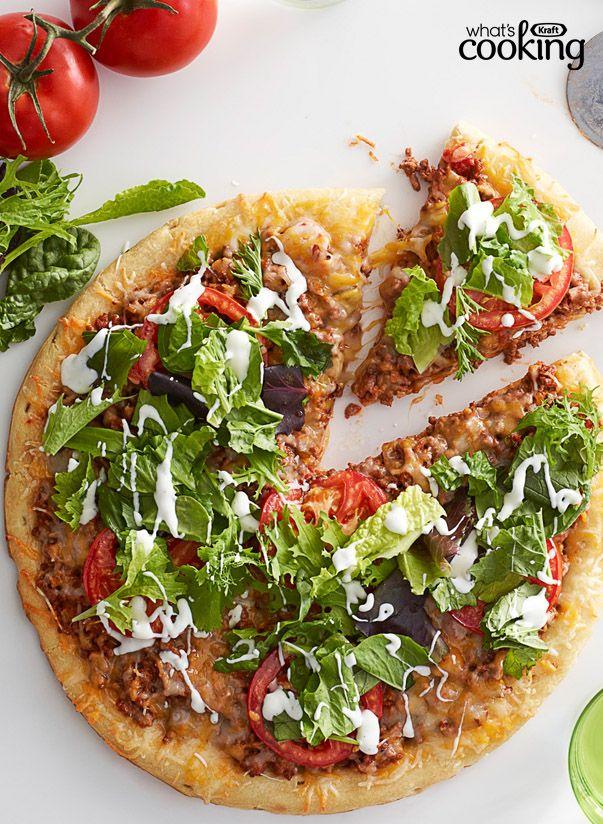 Salad-Topped Taco Pizza #recipe