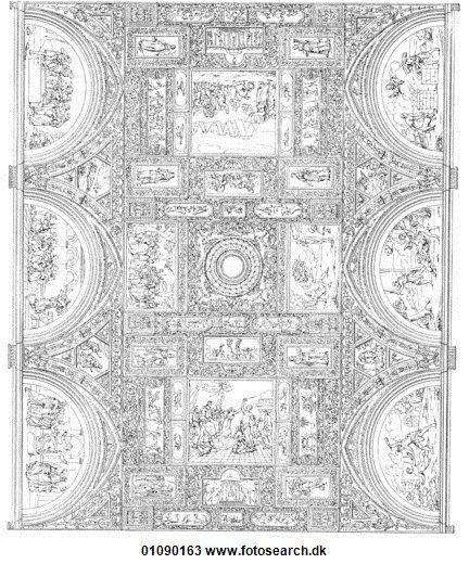 Tegning - mønstre, og, motifs, -, italien, -, linje kunst, en, 16 århundrede, renæssance, loft, dekoration, vertikale horisontale, håndflade træ, acanthus blad, lærer, student, engle, vinger, cherubs, tilblivelse, oprettelse, bibel, gammelt testamente, adam, kvæld, eden have, celebrat 01090163 - Søg i clipart, illustration, kunstprint og vector-grafikmotiver i EPS-format - 01090163.TIF
