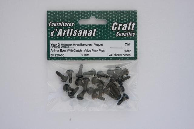 ZP220-00 Animal Eyes With Clutch 9 mm. Clear 12 Pieces