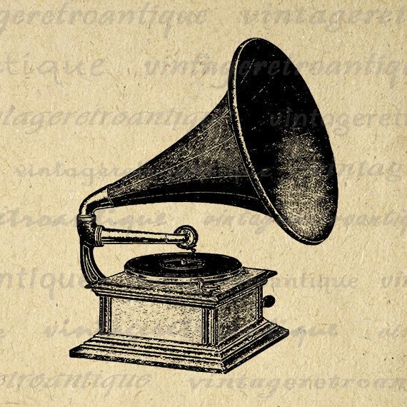 Printable Antique Phonograph Digital Graphic Music Player Download Image Vintage Clip Art Jpg Png Eps 18x18 HQ 300dpi No.1287 @ vintageretroantique.etsy.com