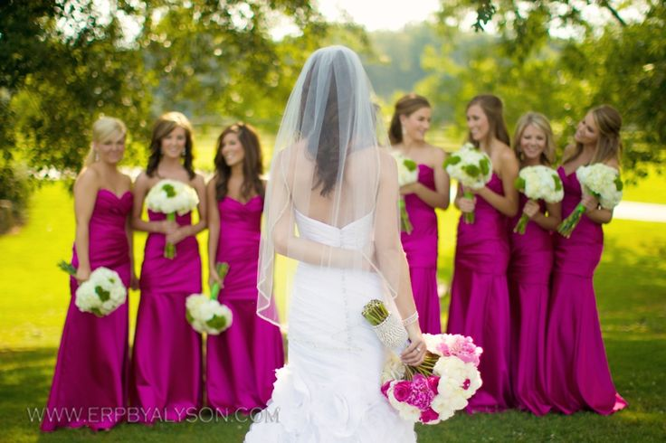 Bright magenta bridesmaids dresses wedding photography - normally I wouldn't choose this color for bridesmaid dresses, but I love it with the background colors!