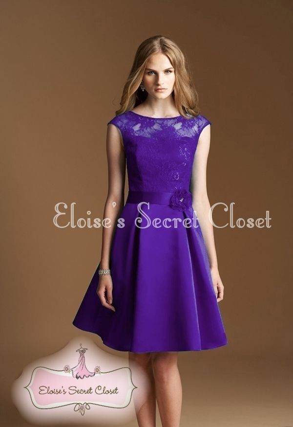 adc27f28db04 CASSIE Cadbury Purple Satin Lace Bridesmaid Knee Length Evening Dress UK