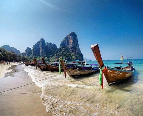 The Railay peninsula in Southern Thailand connects Krabi and Ao Nang and is only accessible by boat. Have you been? Photo by @zimmermannt #gadventures - via G Adventures on #Instagram : Amazing #Travel Destinations - International #Holiday Tips - Dream #Vacations - Exotic Tropical Tourist Spots - Adventure Travel Ideas - Luxury #Hotels and Beautiful Resorts Pictures by Traveling247