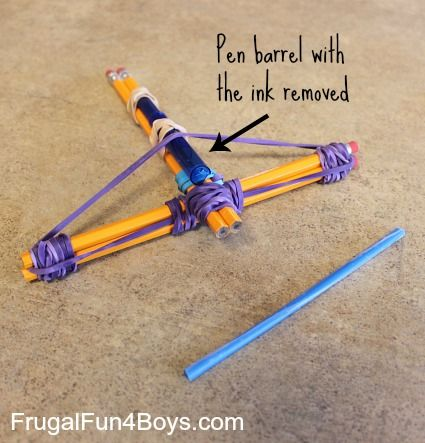 How to Make a Pencil Crossbow @ frugalfun4boys.com